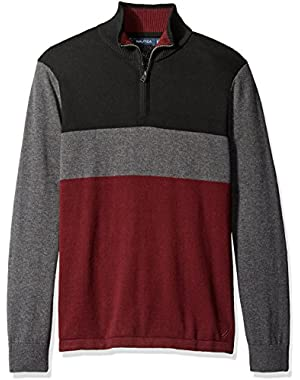 Men's Color-Block Quarter-Zip Sweater