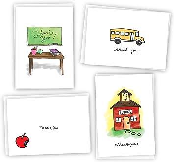 Amazon.com: Escuela Tarjetas de agradecimiento – 24 tarjetas ...