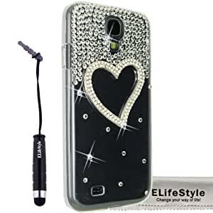 Elifestyle New for Samsung Galaxy S4 S IV i9500 3D Handmade Clear Bling Love Heart Sparkle Glitter Rhinestone Case Cover Hard Transparent + Elifestyle Accessories stylus pen + Clean Cloth by runtopwell