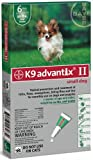BAYER 004BAY-04458455 K9 Advantix II for Small Dogs 4 - 10 lbs, Green - 4 Months