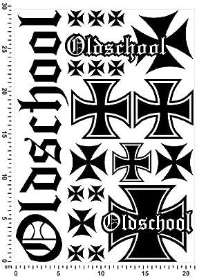 Bogengröße A4 Oldschool Eisernes Kreuz Aufkleberset In 15 Farben Neon Chrom Sticker Aufkleber