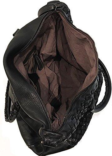 Damen Tasche Emitea Paul.hide Beutel Handtasche Schultertasche Vintage Geflochten Gewaschenes Leder Made In Italy Handgefertigt Umhängetasche Vintage Used-Look Schwarz 35x30x15cm (B x H x T)