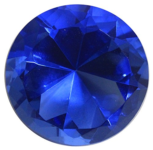5cm Octagon Pyramid shaped Crystal Paperweight (blue) - Octagon Paperweight