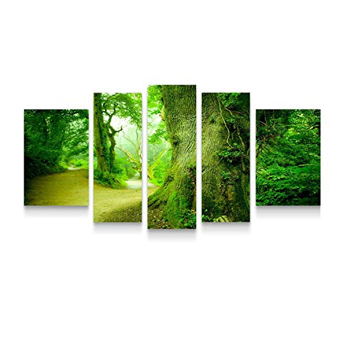 STARTONIGHT Canvas Wall Art Trees The Forest - Forest Framed Set of 5 Large 36 x 71 Inches