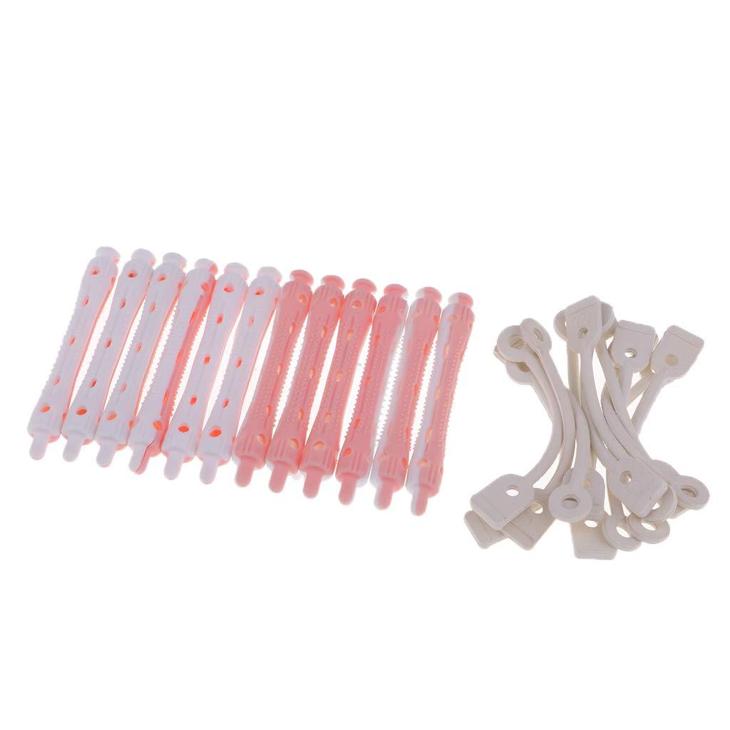 12 Stueck Rosa Kunststoff DIY Haar Lockenwickler 6.5 1.8 cm R9A9