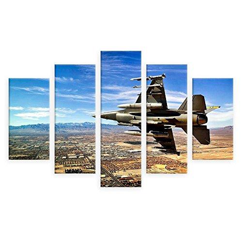 Alonline Art - Jet Fighter In The Sky by Split 5 Panels | print on wall sticker vinyl decal (Rolled) | 53