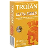 Trojan Ultra Ribbed Premium Lubricated Condoms - 12 Count
