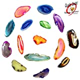 Set of 12 (TWELVE) Multi Colored Agate Slices Beverly Oaks Exclusive in Blue Velvet Bag with Certificate of Authenticity