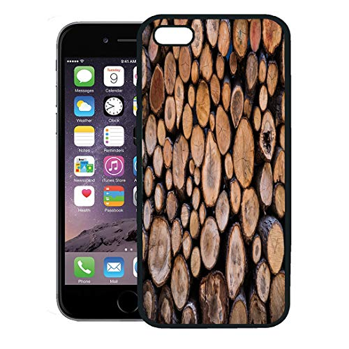 (Semtomn Phone Case for iPhone 8 Plus case,Silver Lodge Firewood Wood Hunting Fireplace Chalet Country iPhone 7 Plus case Cover,Black)