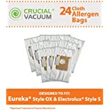 24 HEPA Cloth Vacuum Bags for Electrolux Harmony Oxygen Vacuums; Compare to Electrolux Part Nos. 61230, 61230a, 61230b and 61230c; Designed & Engineered by Think Crucial