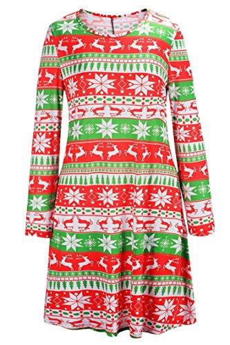 LaSuiveur Women's Christmas Santa Claus Print Pullover Flared -