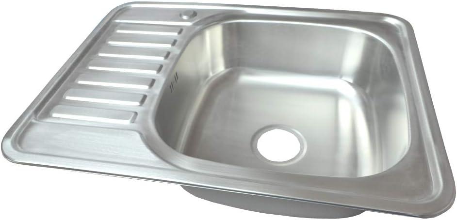 Fregadero empotrado de acero inoxidable 304 1 platillo de acero inoxidable grande ovalado y redondo con superficie de almacenamiento con desag/üe de 76,5 x 50 cm warenplus2014