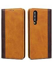 Copmob Huawei P30 Case, Premium Magnetische Flip Lederen Wallet Case, [3 Card Slots] [Stand Functie] [Shockproof TPU], Lederen Case Cover voor Huawei P30 - Geel+Bruin