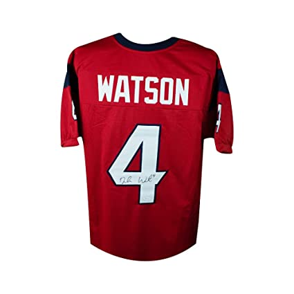 27595f8d4 Image Unavailable. Image not available for. Color  Deshaun Watson  Autographed Houston Texans Custom Red Football Jersey - JSA COA