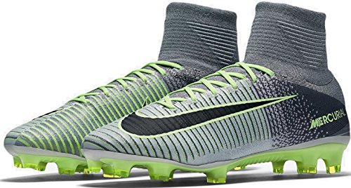 NIKE Mens Mercurial Superfly V Firm Ground Cleats Pure Platinum/Ghost Green/Hyper Turquoise/Black