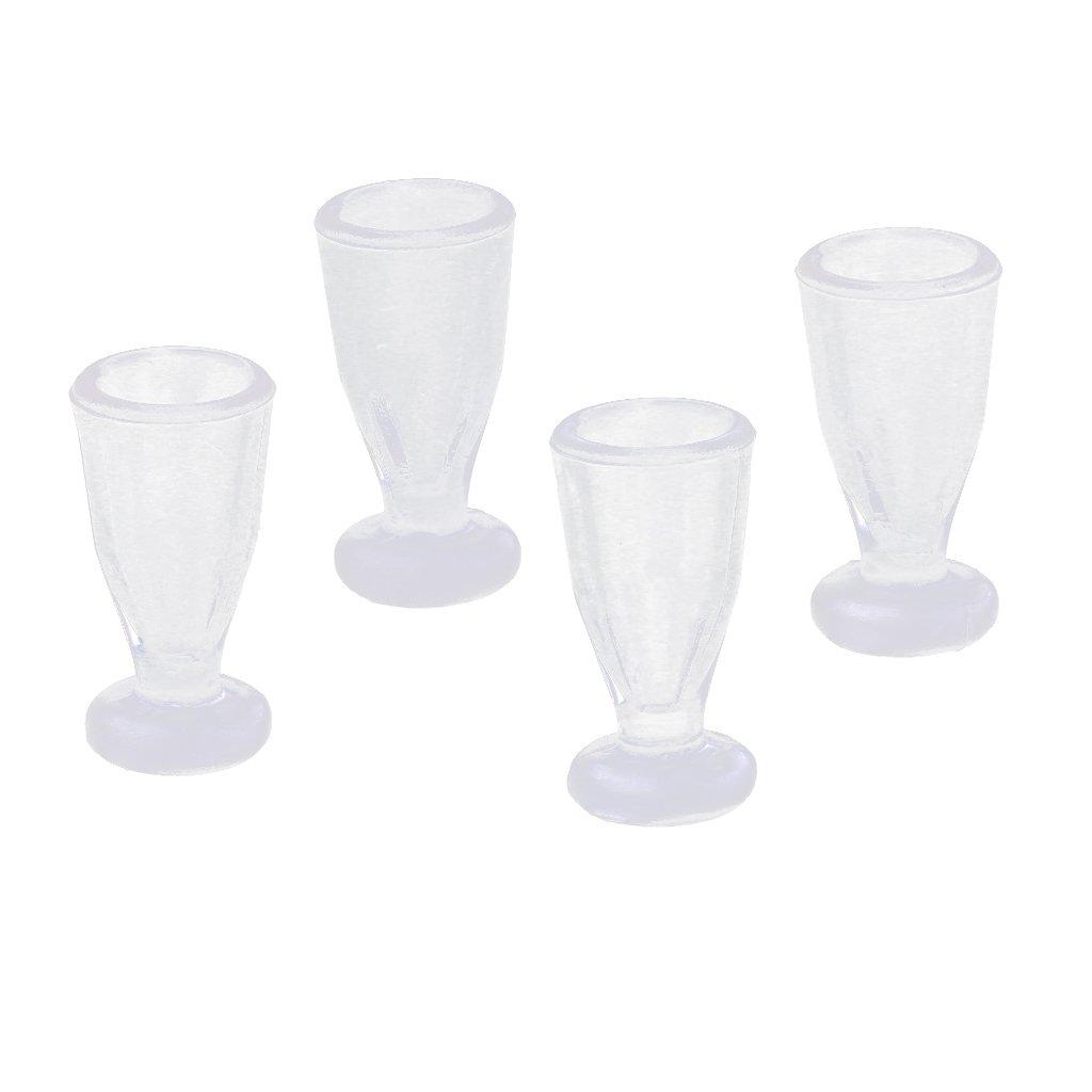 Fenteer 4pcs Tasse de Jus en Plastique Vaisselle Miniature D/écoration Maison Bureau Magasin Dollhouses