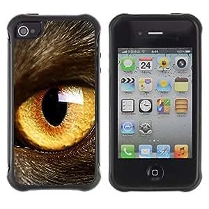 Suave TPU GEL Carcasa Funda Silicona Blando Estuche Caso de protección (para) Apple Iphone 4 / 4S / CECELL Phone case / / Cat Eye Orange Yellow Fur Pet Looking /
