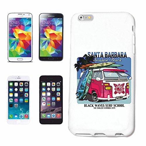 """cas de téléphone iPhone 6+ Plus """"SANTA BARBARA BEACH SURFING SURF LONGBOARD ONDES DE SURF SHOP DEBUTANT"""" Hard Case Cover Téléphone Covers Smart Cover pour Apple iPhone en blanc"""