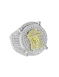 Mens Jesus Face Ring Iced Out Round Cut Lab Diamond 2 Tone Band Hip Hop 3D Design NEW Size 7, 8 , 9, 10