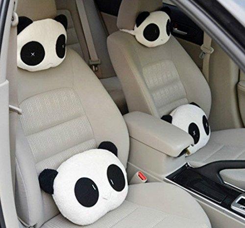 Bianco MissFox PU pelle Poggiatesta Cuscino Auto Testa del Collo 2 Pcs Cuscino da Viaggio