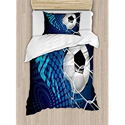 Ambesonne Soccer Duvet Cover Set Twin Size, Goal Football Flying into Net Abstract Dots Pattern Background European Sport, Decorative 2 Piece Bedding Set with 1 Pillow Sham, Blue Black White