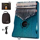 Moozica 17 Keys Mahogany Tone Wood EQ Kalimba, Electric Finger Thumb Piano Built-in Hi-Fi Pickup With 6.35mm Audio Interface(Dark Green)
