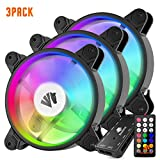Asiahorse Music Change Lighting Design New Wireless RGB LED 120mm Case Fan,an Interactive Quiet Edition High Airflow Adjustable Fan for Chassis Radiators and Water Cooling System(3PACK)