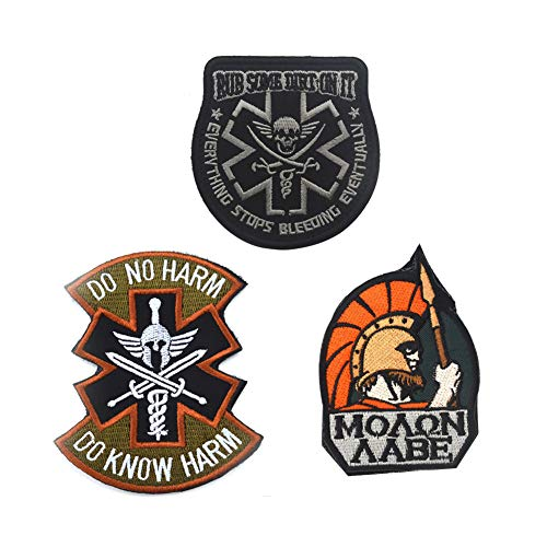 - SOUTHYU 3 Pieces Spartan Molon Labe Tactical Military Morale Patches Emblem, Rub Some Dirt On It Medic Paramedic EMS EMT Embroidered Badge, Do No Harm Do Know Harm Hook and Loop Patch