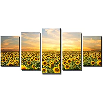 Wieco Art   Sunflowers Modern 5 Panels Stretched And Framed Giclee Canvas  Prints Artwork Landscape Pictures