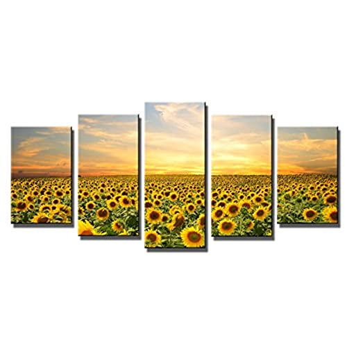 Beau Wieco Art   Sunflowers Modern 5 Panels Stretched And Framed Giclee Canvas  Prints Artwork Landscape Pictures Paintings On Canvas Wall Art Ready To  Hang For ...