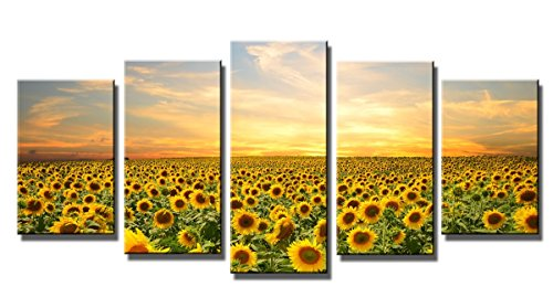 Wieco Art Sunflowers Canvas Prints Wall Art Landscape Pictures Paintings Ready to Hang for Living Room Bedroom Home Office Decorations Modern 5 Panels Stretched and Framed Yellow Flower Giclee Artwork