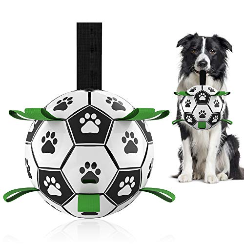 Dog Toys Soccer Ball with Grab Tabs, Interactive Dog Toys for Tug of War, Puppy Birthday Gifts, Dog Tug Toy, Dog Water…