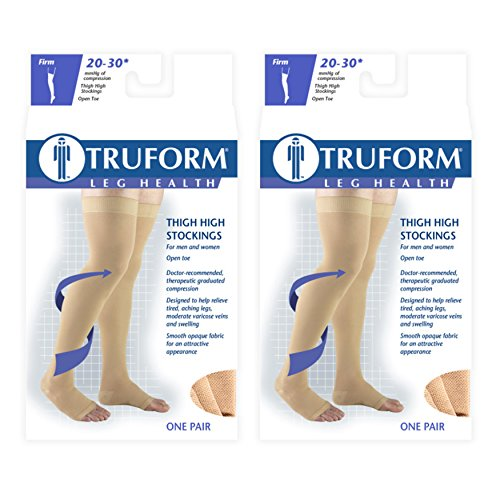 Truform Compression 20-30 mmHg Thigh High Open Toe Dot Top Stockings Beige, Large, 2 Count
