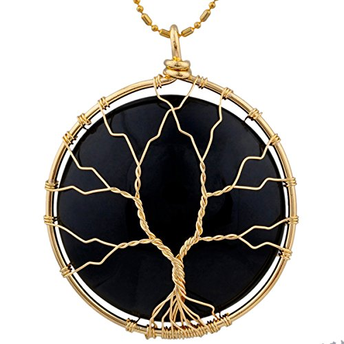 SUNYIK Round Black Obsidian Tree of Life Pendant Necklaces for Women Handmade Reiki Healing Crystal