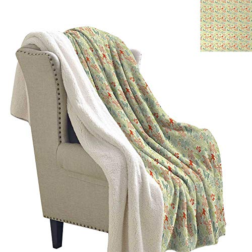 (Retro Blanket Small Quilt Butterflies and Wildflowers Pattern on Color Splash Background for Bed/Couch/Chair in Livingroom or Bedroom 60x32 Inch Petrol Blue Pale Green Dark Coral)