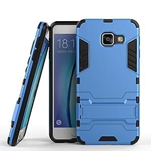 Por Samsung Galaxy A3 (2016) A310F A310M A310Y Funda Carcasa Case, Ougger Protección Extrema [Kickstand] Absorción De Impacto Armor Tapa Cover Tough PC + Soft TPU Cushion Caucho 2in1 Back Gear Piel Rear Azul