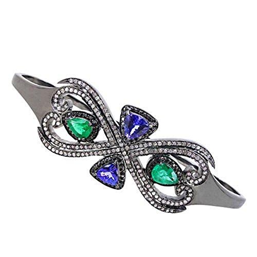 1.75 Ct Emerald Diamond (Emerald/Tanzanite Gemstone Pave 1.75ct Diamond .925 Silver Palm Bracelet Jewelry)