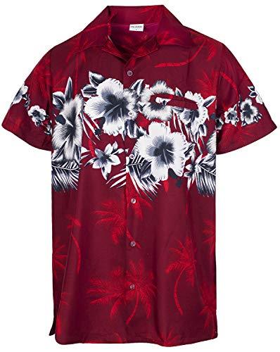 Funky Hawaiian Shirt, Shortsleeve, Flower Chestprint New, Red, M (Flower Red Shirts)