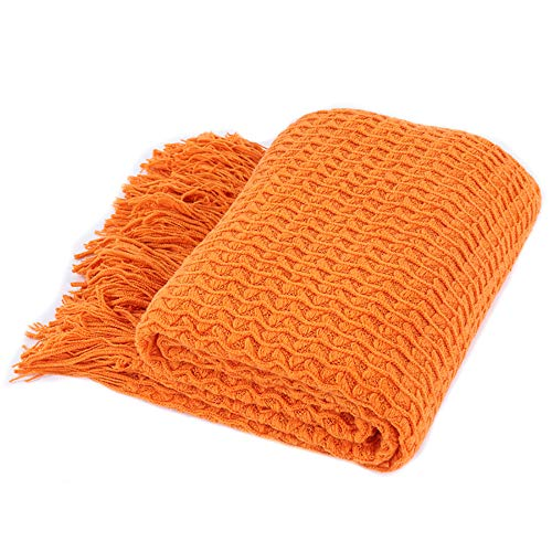 Battilo 100% Acrylic Blanket with Tassels Throws for Sofa Chair Settee 130x150cm (Orange)