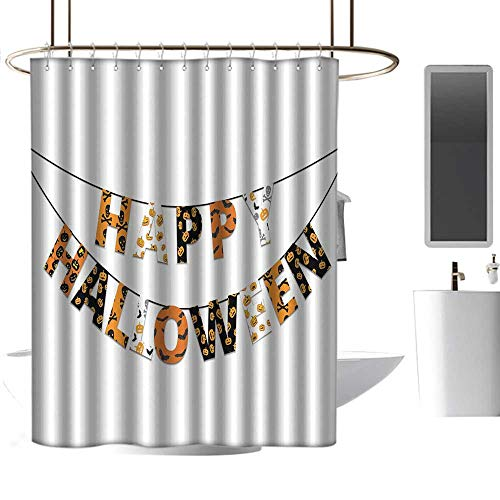 homehot Shower Curtains Black and Silver Halloween,Happy Halloween Banner Greetings Pumpkins Skull Cross Bones Bats Pennant,Orange Black White,W48 x L72,Shower Curtain for clawfoot -