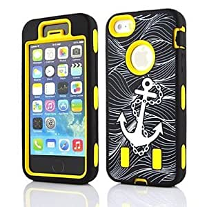 2 in 1 Anchor Robot Style PC and Sillcone Composite Case for iPhone 4/4S(Assorted Colors) , Yellow