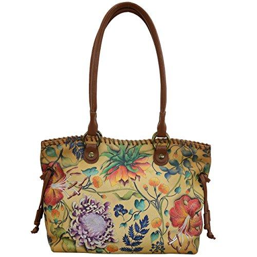 Drawstring Shopper Bag - Anuschka Women's Genuine Leather Drawstring Shopper Bag | Hand Painted Exterior | Caribbean Garden