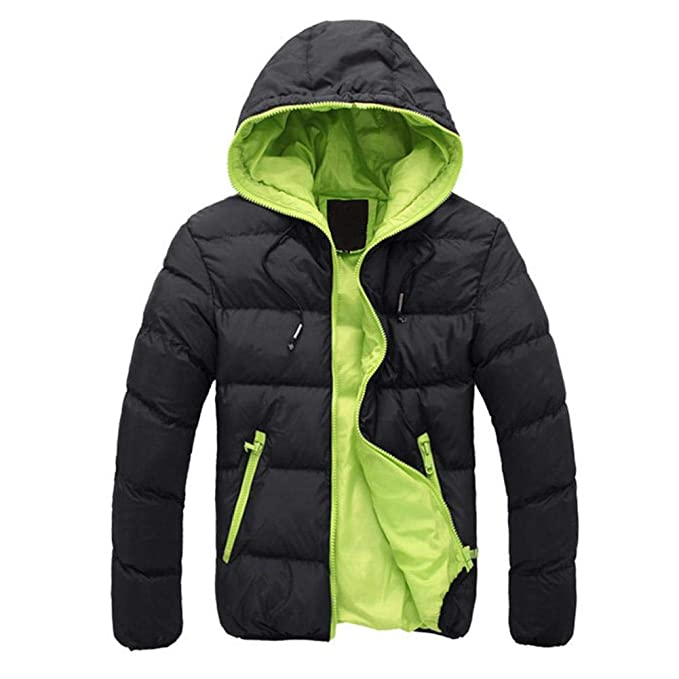 939995ddb34 Innersetting Men Hooded Jacket Coat Winter Padded Thick Outwear  (Black+Green M)