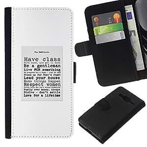 KLONGSHOP // Tirón de la caja Cartera de cuero con ranuras para tarjetas - señor caballero con clase cotización cartel de texto - Samsung Galaxy Core Prime //