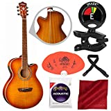 Washburn EA15ITB Festival Series Mini Jumbo Acoustic-Electric Guitar with Guitar Pick, Clip-On Tuner, and Accessory Bundle