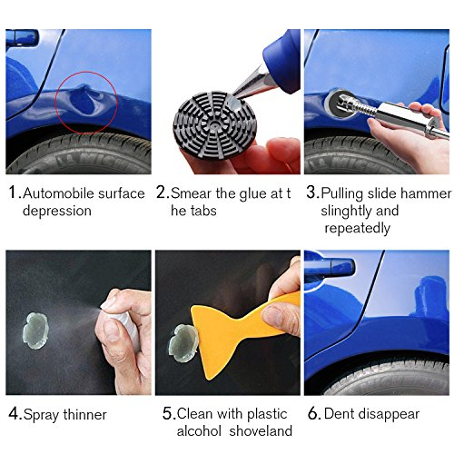 BETIMESYU 32PCS Dent Remover Repair Tools Kits Dent Puller Paintless Slide Hammer with Glue Gun Sticks for Vehicle Car Auto Body Damage Remover by BETIMESYU (Image #1)