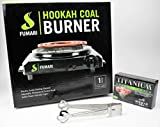 FUMARI Hookah Charcoal Coco Burner 1100 Watt Hot Plate FREE Titanium Coals + Shisha Tongs Black Electric Nara Heater Single Coil Stove