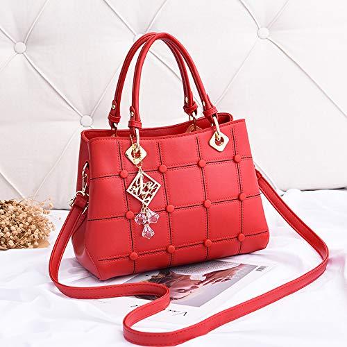 grande rosa Saoga rossa grande Borsa moda versatile tessile rivetto capacità semplice portatile tracolla RXWWFTwqO