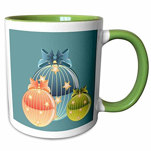 3dRose TNMGraphics Christmas - Blue Orange and Green Glass Ornaments - 11oz Two-Tone Green Mug (mug_97877_7) (Two Tone Glass Ornament)