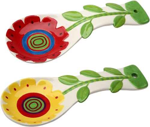 Appletree 9-1/4-Inch Ceramic Spoon rest, Set of 2 Christmas Tree Spoon Rest